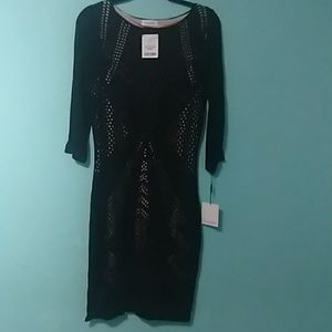 Dress, black knit overlay, beige